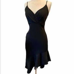 LULU'S Bodycon Little Black Dress Ruffle Hem